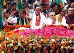 Home Minister Rajnath Singh Holds Mega Roadshow In Lucknow